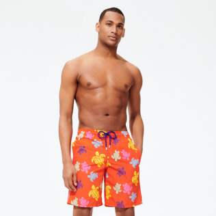 Men Long classic Printed - Men Swim Trunks Long Tortues Multicolores, Medlar frontworn
