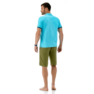 Men Polos Solid - Solid Cotton pique polo, Azure backworn