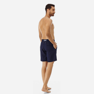 Men Long classic Solid - Solid Long Cut Swim shorts, Navy backworn