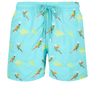 男款 Classic 绣 - Men Swimwear Embroidered Multicolore Parrots - Limited Edition, Lazulii blue front