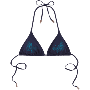 Women Tops Lazercut - Butterflies Laser Cut Triangle shape bikini top, Navy front