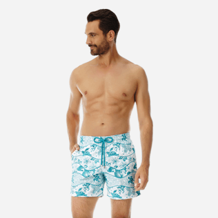 Men Embroidered Embroidered - Men Swimtrunks Embroidered Vague Heritage - Limited Edition, White frontworn