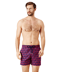 Men Classic Embroidered - Men Swimwear Embroidered Hippocampes - Limited Edition, Midnight blue frontworn