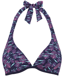 Women Underwire Printed - Women Underwires Bikini Top Coral & Fish, Navy front