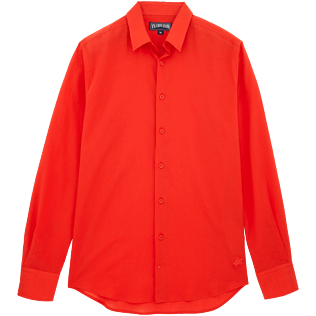 Men Shirts Solid - Solid Cotton veil shirt, Poppy red front