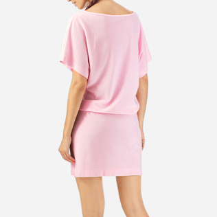 Women Dresses Solid - Solid Terry Tee Shirt dress, Peony supp2