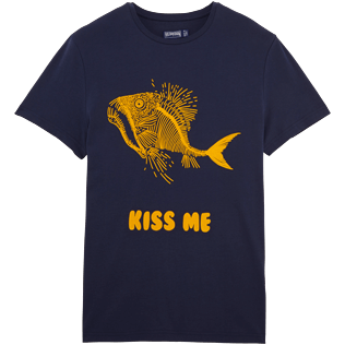 Women Others Printed - Prehistoric Fish  Round neck Tee Shirt, Navy front