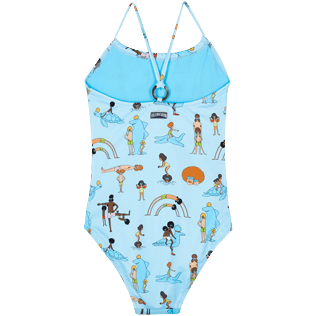 Girls Others Printed - Girls One piece Swimsuit My Favorite Dad !, Sky blue 2 back