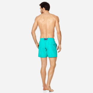Men Classic Embroidered - Men Swim Trunks Placed Embroidery Le Vilebrequin, Veronese green backworn