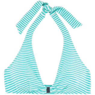 Women Tops Graphic - Striped Terry bikini top, Lagoon front