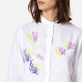 Women Others Embroidered - Women Linen Shirt Dress Coral and Turtles, White supp1