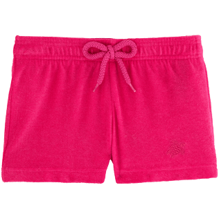 Girls Shorties Solid - Girls Terry Cloth Shortie Solid, Shocking pink front