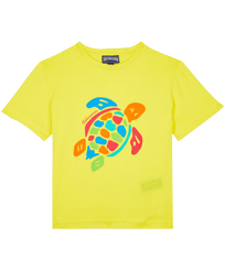 Boys Others Printed - Boys Organic Cotton T-shirt Tortue Multicolore, Lemon front