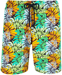 Men Long classic Printed - Men Swim Trunks Long Stretch Jungle, Midnight blue front