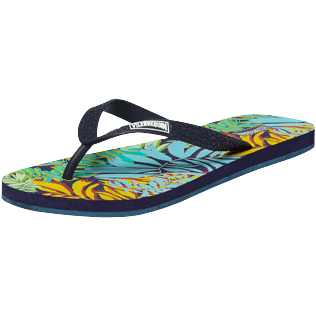 Hombre Autros Estampado - Chanclas con estampado Jungle para hombre, Midnight blue back