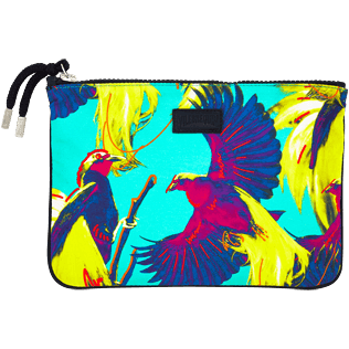 Others Printed - Zipped Cotton Beach pouch Birds of Paradise, Veronese green front