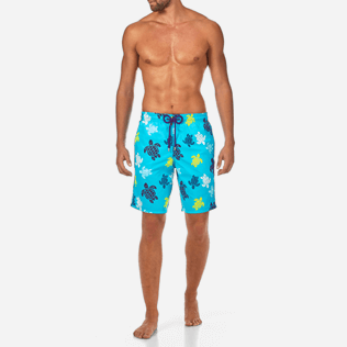 Men Long Printed - Tortues Multicolores Long Cut Swim shorts, Azure frontworn