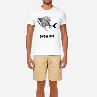 Men Tee-Shirts Printed - Prehistoric Fish Round neck T-Shirt, White supp1