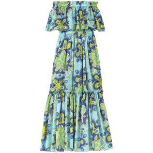Women Others Printed - Women Cotton Off the Shoulder Long Dress Kaleidoscope, Lagoon back