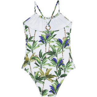 Girls Others Printed - Girls One piece Swimsuit Palms, White back