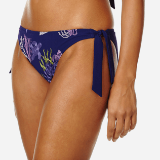 Women Classic brief Embroidered - Women Bikini Bottom Brief to Be Tied Coral and Turtles, Midnight blue supp1