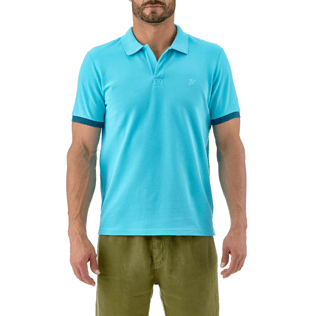 Men Polos Solid - Solid Cotton pique polo, Azure supp2
