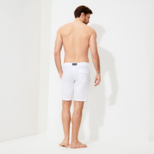 Men Others Solid - Men Linen Bermuda Shorts, White backworn