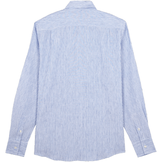 Men Others Graphic - Stripped Linen shirt, Sky blue back