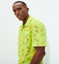 Men Others Printed - Men Bowling Shirt Cotton and Linen Multicolore Parrots, Lemongrass frontworn