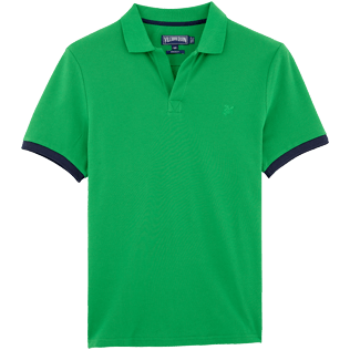 Men Polos Solid - Solid Cotton pique polo, Meadow front