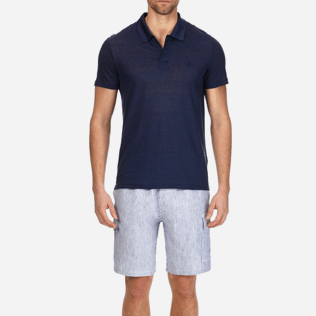 Men Others Solid - Men Linen Jersey Polo shirt Solid, Navy supp1