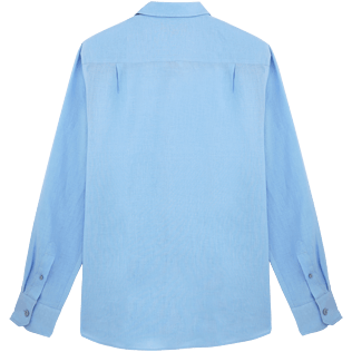 Men Others Solid - Men Linen Shirt Solid, Sky blue back