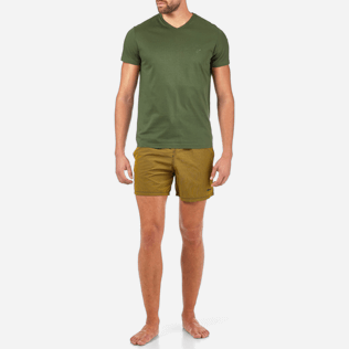 Men Tee-Shirts Solid - Solid V-neck Mercerized cotton T-Shirt, Olive frontworn