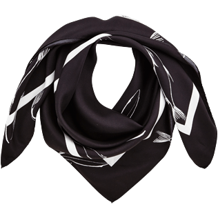 046 Printed - Silk Scarf Fish Dance, Black front