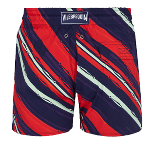 Hombre Clásico stretch Estampado - Men Swimwear Stretch Diagonal Stripes, Ciruela back