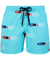 Men 017 Embroidered - Men Embroidered Swim Trunks Monaco - Limited Edition, Tropezian blue front