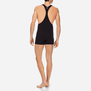Men One piece Solid - Men One Piece Swimtrunks French Riviera, Black backworn