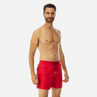 Men Classic Solid - Men Swimwear Solid, Red polish frontworn