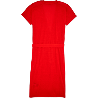 Women Dresses Solid - Solid Linen Wrap-Around Dress, Poppy red back