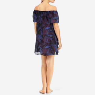 Women Dresses Printed - Camouflage Turtles Shoulder Game Dress, Plum backworn