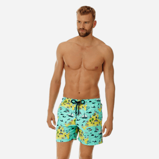Men Classic Printed - Men Swimwear Martha's Vineyard, Mint frontworn