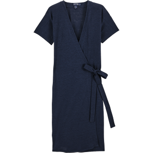 Women Dresses Solid - Solid Linen Wrap-Around Dress, Navy front