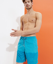 Men Long classic Magic - Men Swimwear Long Bengale Tigers Water-reactive, Light azure frontworn