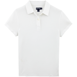 Women Polos Solid - Solid Cotton pique polo, White front