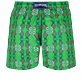 Men Classic Embroidered - Men Swimwear Embroidered Sweet Fishes - Limited Edition, Grass green back
