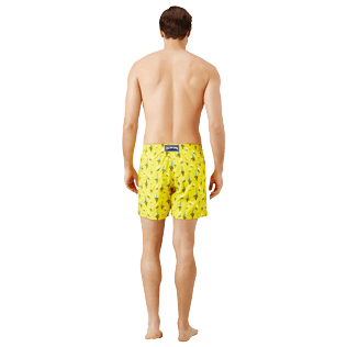 Men Classic Embroidered - Men Swim Trunks Embroidered Bateaux sur l'eau - Limited Edition, Buttercup yellow backworn