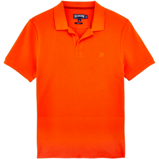 Men Polos Solid - Solid Cotton pique polo, Clementine front