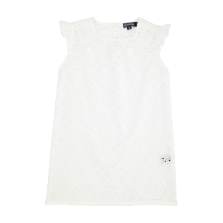 Girls Others Embroidered - Girls Cotton Dress Eyelet Embroidery, White front