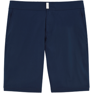 Men Long Solid - Solid Superflex Long fitted cut Swim shorts, Navy front