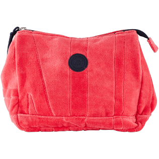 Others Solid - Zipped beach pouch in terry cloth solid jacquard, Hibiscus front